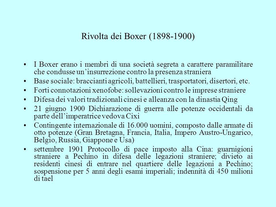 Rivolta dei Boxer (1898-1900) I Boxer erano i membri di una società segreta a carattere paramilitare che condusse un'insurrezione contro la presenza straniera Base sociale: braccianti agricoli, battellieri, trasportatori, disertori, etc.