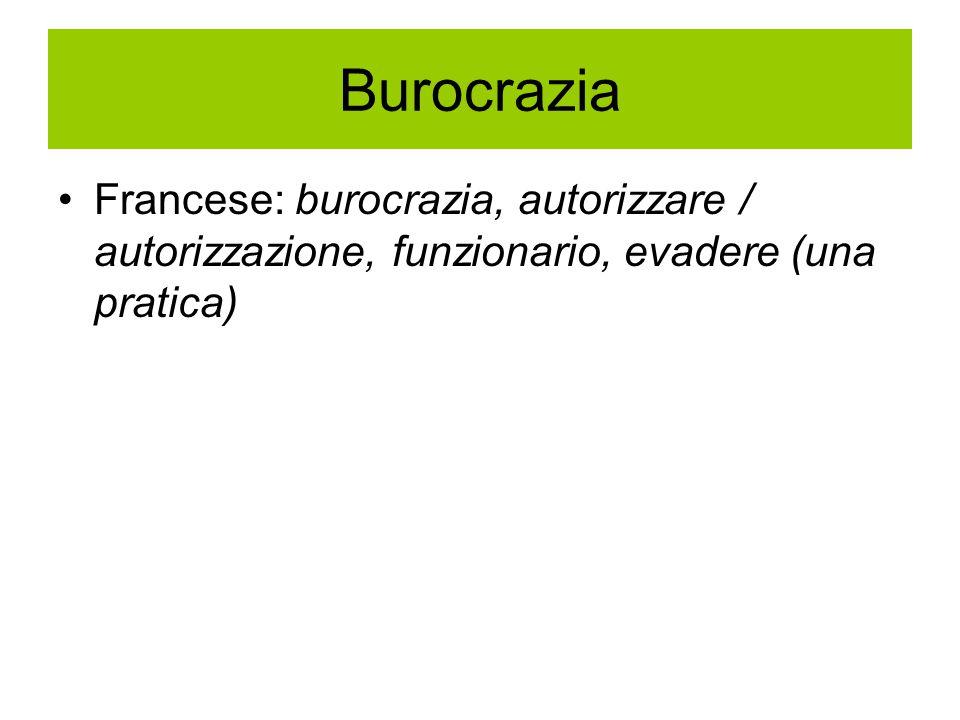 Burocrazia Francese: burocrazia, autorizzare / autorizzazione, funzionario, evadere (una pratica)