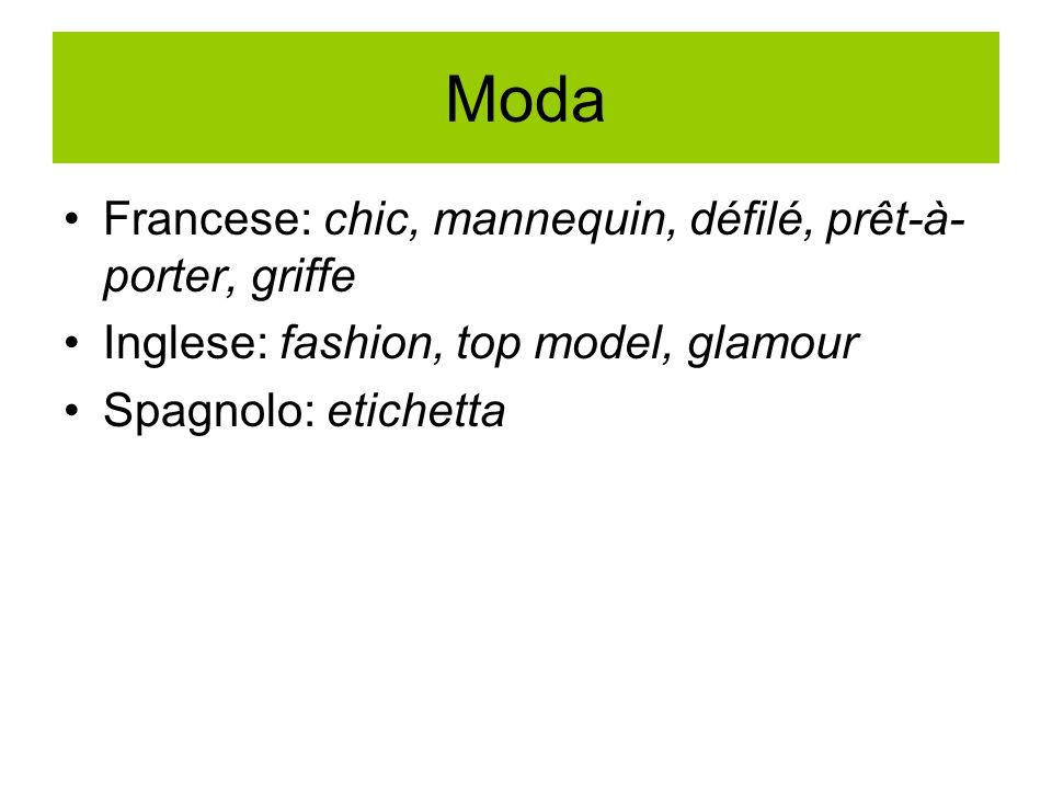 Moda Francese: chic, mannequin, défilé, prêt-à- porter, griffe Inglese: fashion, top model, glamour Spagnolo: etichetta