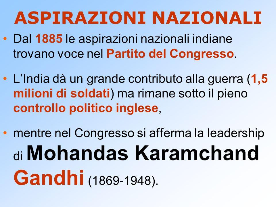 ASPIRAZIONI NAZIONALI Dal 1885 le aspirazioni nazionali indiane trovano voce nel Partito del Congresso. L'India dà un grande contributo alla guerra (1