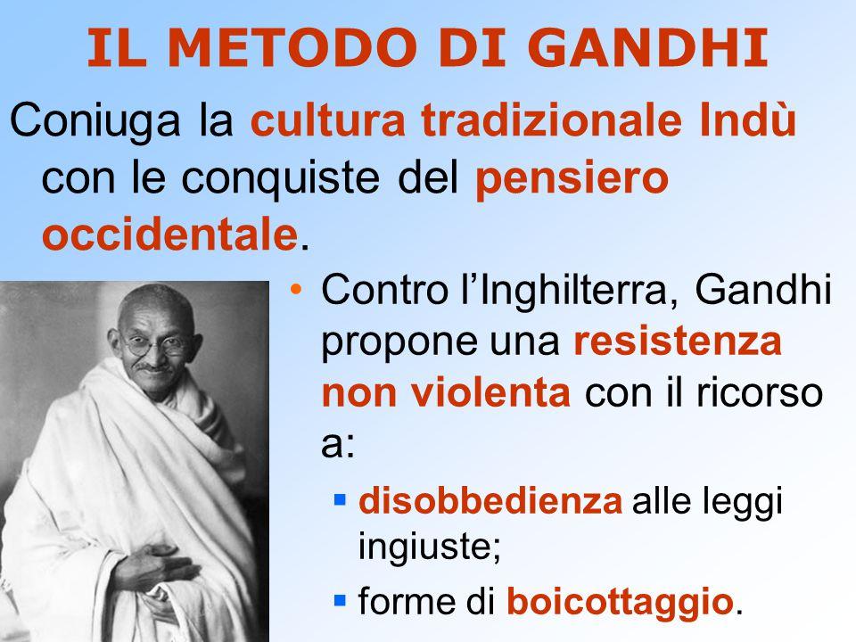 IL METODO DI GANDHI Contro l'Inghilterra, Gandhi propone una resistenza non violenta con il ricorso a:  disobbedienza alle leggi ingiuste;  forme di