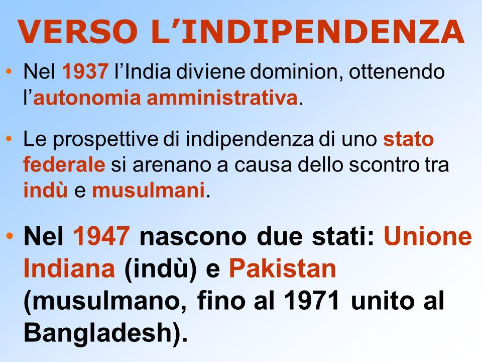 VERSO L'INDIPENDENZA Nel 1937 l'India diviene dominion, ottenendo l'autonomia amministrativa. Le prospettive di indipendenza di uno stato federale si