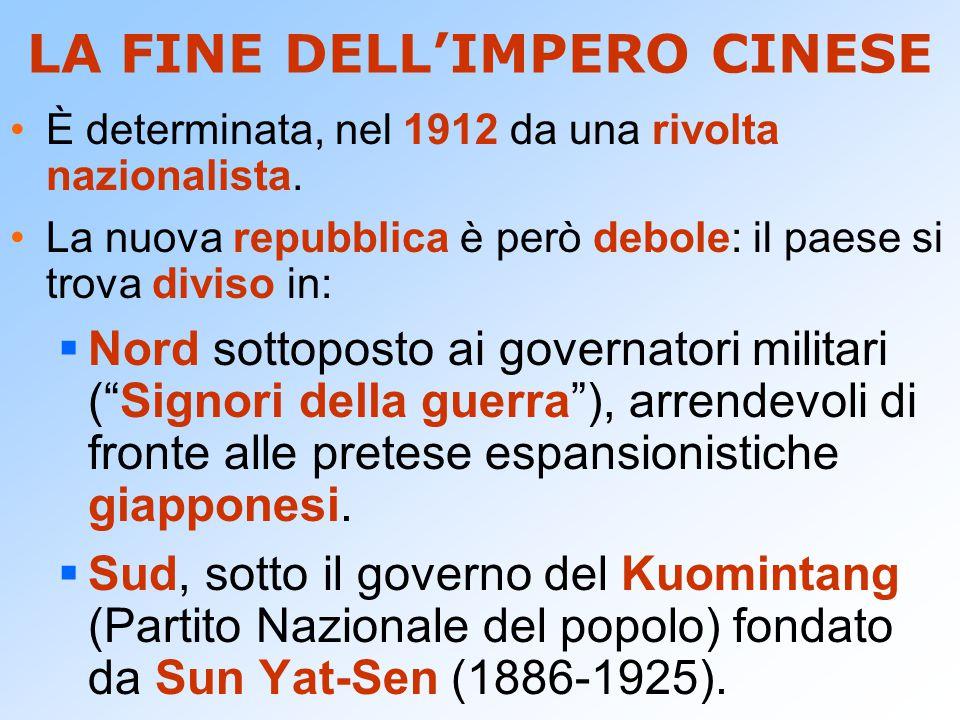 L'ALLEANZA CON I COMUNISTI Dopo la guerra, Sun Yat-Sen si appoggia all'URSS e al neonato Partito Comunista (1921), per riconquistare il Nord.