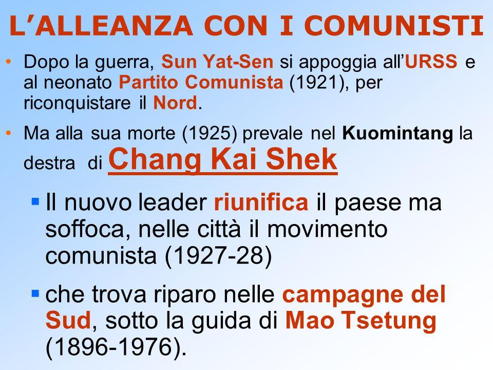 L'ALLEANZA CON I COMUNISTI Dopo la guerra, Sun Yat-Sen si appoggia all'URSS e al neonato Partito Comunista (1921), per riconquistare il Nord. Ma alla