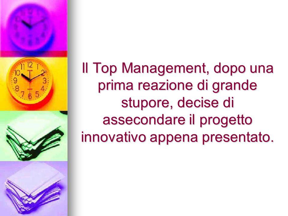 Il Top Management, dopo una prima reazione di grande stupore, decise di assecondare il progetto innovativo appena presentato.