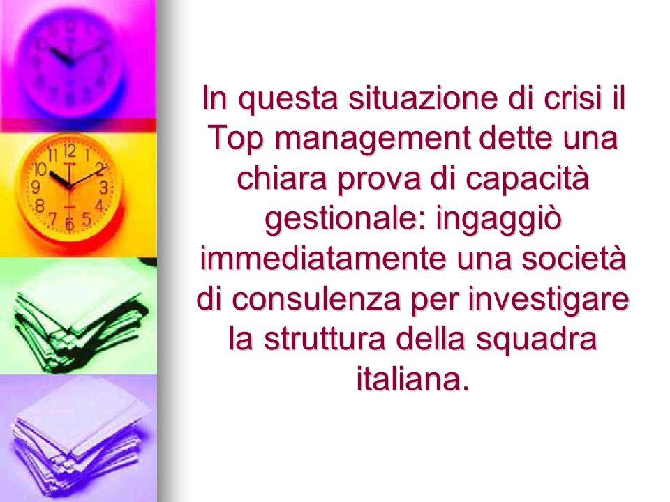 In questa situazione di crisi il Top management dette una chiara prova di capacità gestionale: ingaggiò immediatamente una società di consulenza per investigare la struttura della squadra italiana.