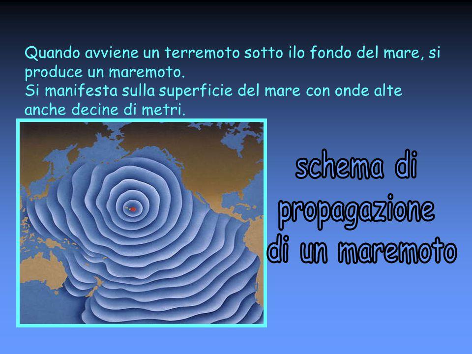Quando avviene un terremoto sotto ilo fondo del mare, si produce un maremoto. Si manifesta sulla superficie del mare con onde alte anche decine di met