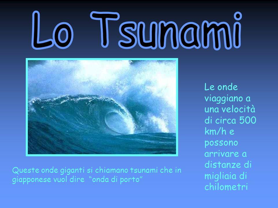Le onde viaggiano a una velocità di circa 500 km/h e possono arrivare a distanze di migliaia di chilometri Queste onde giganti si chiamano tsunami che