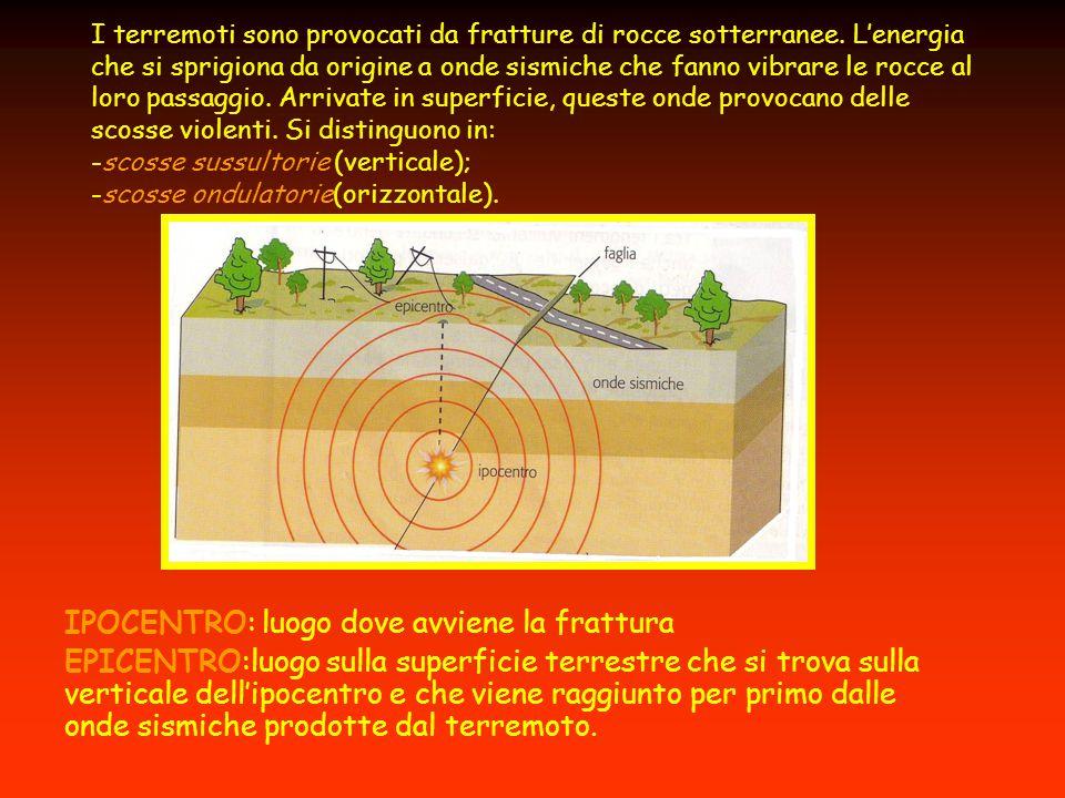 I terremoti sono provocati da fratture di rocce sotterranee. L'energia che si sprigiona da origine a onde sismiche che fanno vibrare le rocce al loro