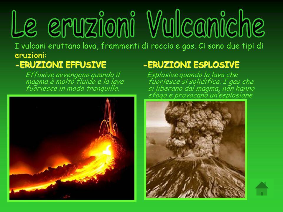 -ERUZIONI EFFUSIVE -ERUZIONI ESPLOSIVE I vulcani eruttano lava, frammenti di roccia e gas. Ci sono due tipi di eruzioni: -ERUZIONI EFFUSIVE -ERUZIONI