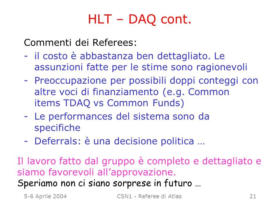 5-6 Aprile 2004CSN1 - Referee di Atlas21 HLT – DAQ cont. Commenti dei Referees: -il costo è abbastanza ben dettagliato. Le assunzioni fatte per le sti