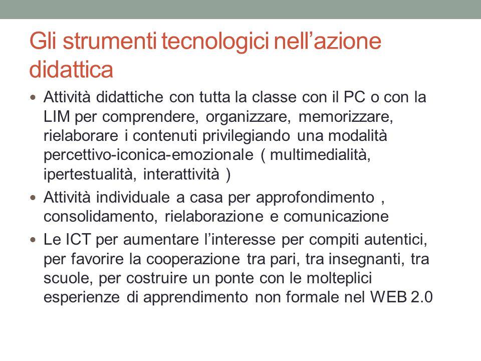 Gli strumenti tecnologici nell'azione didattica Attività didattiche con tutta la classe con il PC o con la LIM per comprendere, organizzare, memorizza