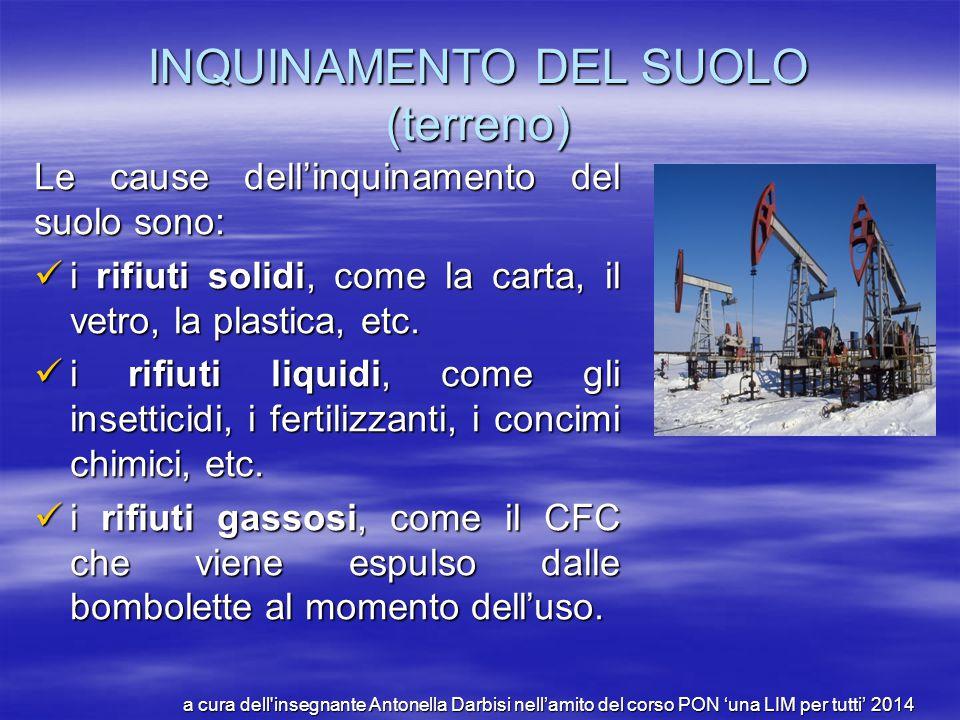 INQUINAMENTO DEL SUOLO (terreno) Le cause dell'inquinamento del suolo sono: i rifiuti solidi, come la carta, il vetro, la plastica, etc. i rifiuti sol