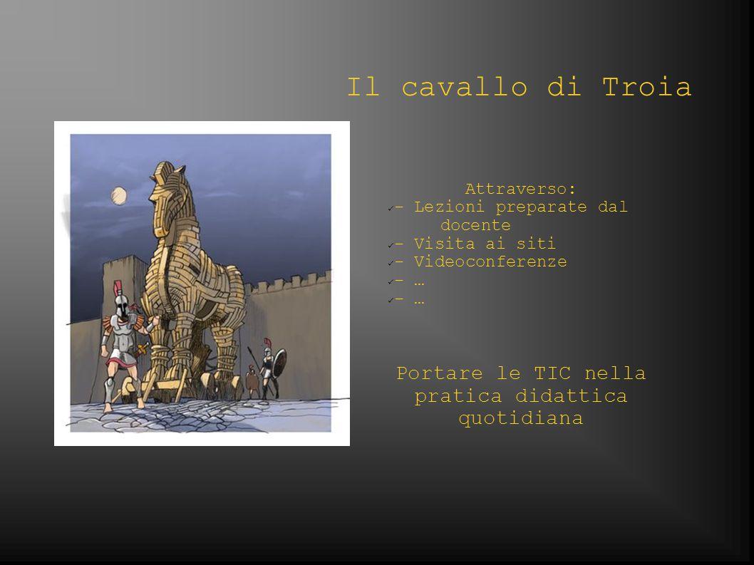Il cavallo di Troia Attraverso: - Lezioni preparate dal docente - Visita ai siti - Videoconferenze - … Portare le TIC nella pratica didattica quotidiana