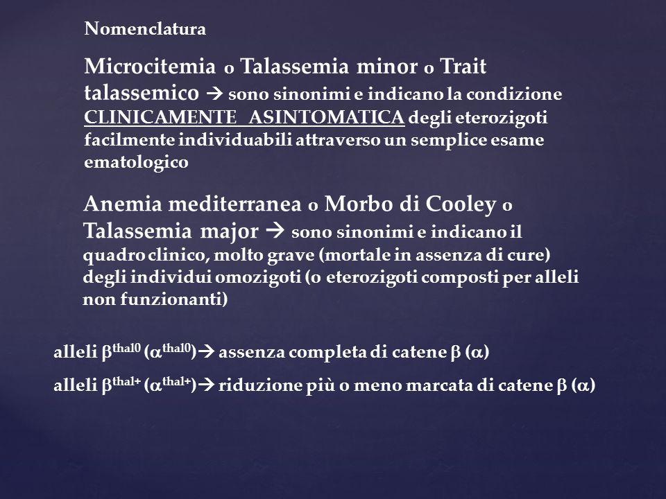 Nomenclatura Microcitemia o Talassemia minor o Trait talassemico  sono sinonimi e indicano la condizione CLINICAMENTE ASINTOMATICA degli eterozigoti