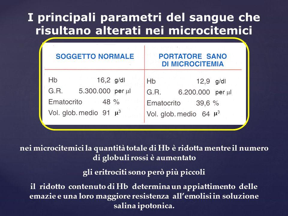 I principali parametri del sangue che risultano alterati nei microcitemici nei microcitemici la quantità totale di Hb è ridotta mentre il numero di gl