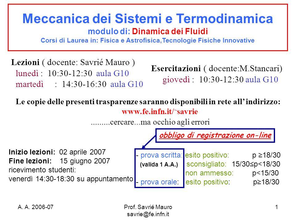 A. A. 2006-07Prof. Savrié Mauro savrie@fe.infn.it 1 Meccanica dei Sistemi e Termodinamica modulo di: Dinamica dei Fluidi Corsi di Laurea in: Fisica e