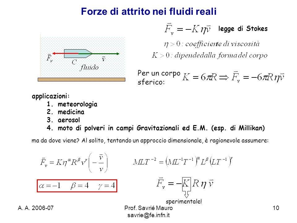 A. A. 2006-07Prof. Savrié Mauro savrie@fe.infn.it 10 Forze di attrito nei fluidi reali legge di Stokes Per un corpo sferico: applicazioni: 1.meteorolo