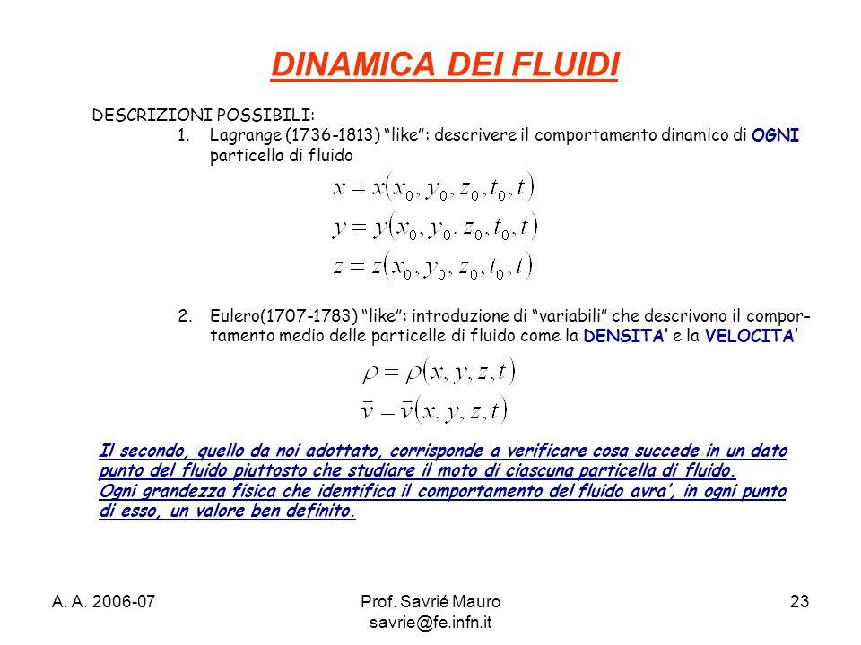 """A. A. 2006-07Prof. Savrié Mauro savrie@fe.infn.it 23 DINAMICA DEI FLUIDI DESCRIZIONI POSSIBILI: 1.Lagrange (1736-1813) """"like"""": descrivere il comportam"""