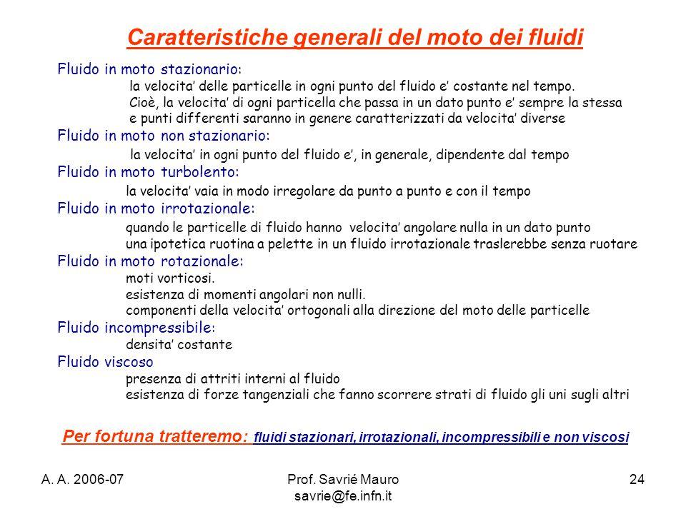 A. A. 2006-07Prof. Savrié Mauro savrie@fe.infn.it 24 Caratteristiche generali del moto dei fluidi Fluido in moto stazionario : la velocita' delle part