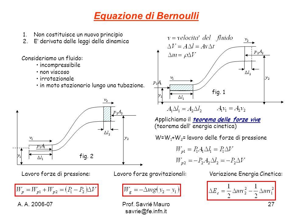 A. A. 2006-07Prof. Savrié Mauro savrie@fe.infn.it 27 Equazione di Bernoulli 1.Non costituisce un nuovo principio 2.E' derivata dalle leggi della dinam