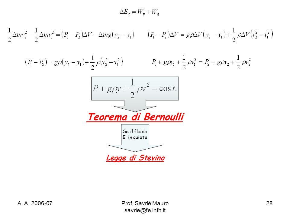 A. A. 2006-07Prof. Savrié Mauro savrie@fe.infn.it 28 Teorema di Bernoulli Se il fluido E' in quiete Legge di Stevino