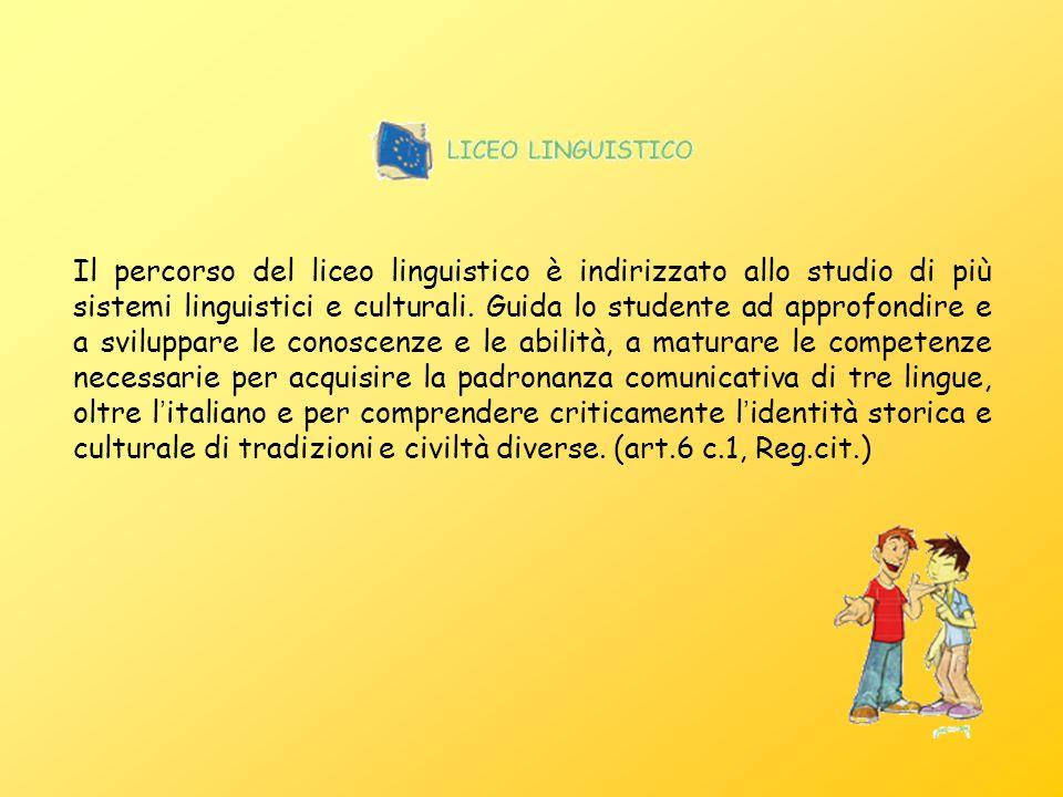 Il percorso del liceo linguistico è indirizzato allo studio di più sistemi linguistici e culturali. Guida lo studente ad approfondire e a sviluppare l