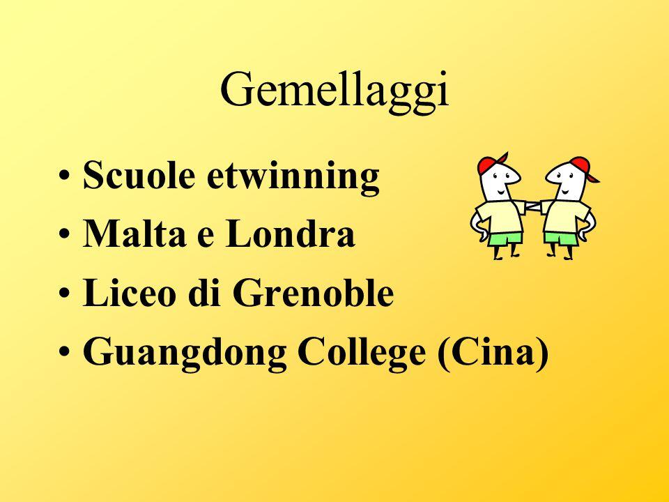 Gemellaggi Scuole etwinning Malta e Londra Liceo di Grenoble Guangdong College (Cina)