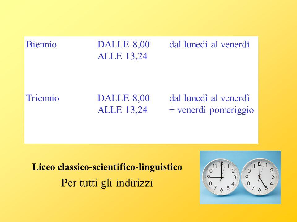 Liceo classico-scientifico-linguistico BiennioDALLE 8,00 ALLE 13,24 dal lunedì al venerdì TriennioDALLE 8,00 ALLE 13,24 dal lunedì al venerdì + venerd