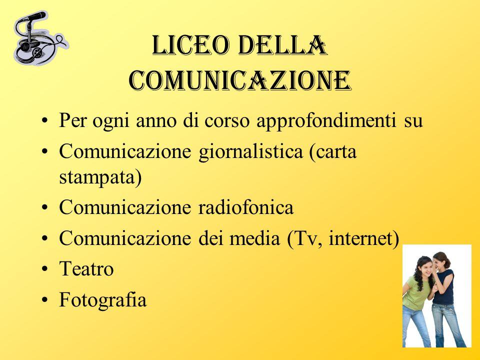 Liceo della Comunicazione Per ogni anno di corso approfondimenti su Comunicazione giornalistica (carta stampata) Comunicazione radiofonica Comunicazio