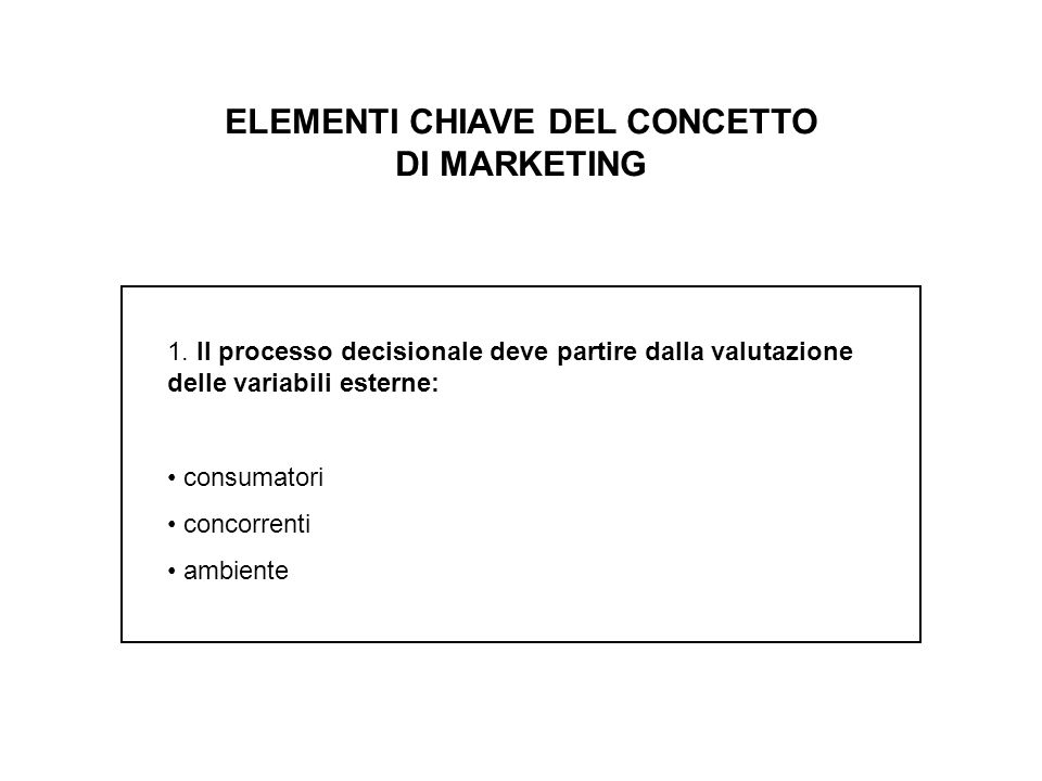 ELEMENTI CHIAVE DEL CONCETTO DI MARKETING 1.
