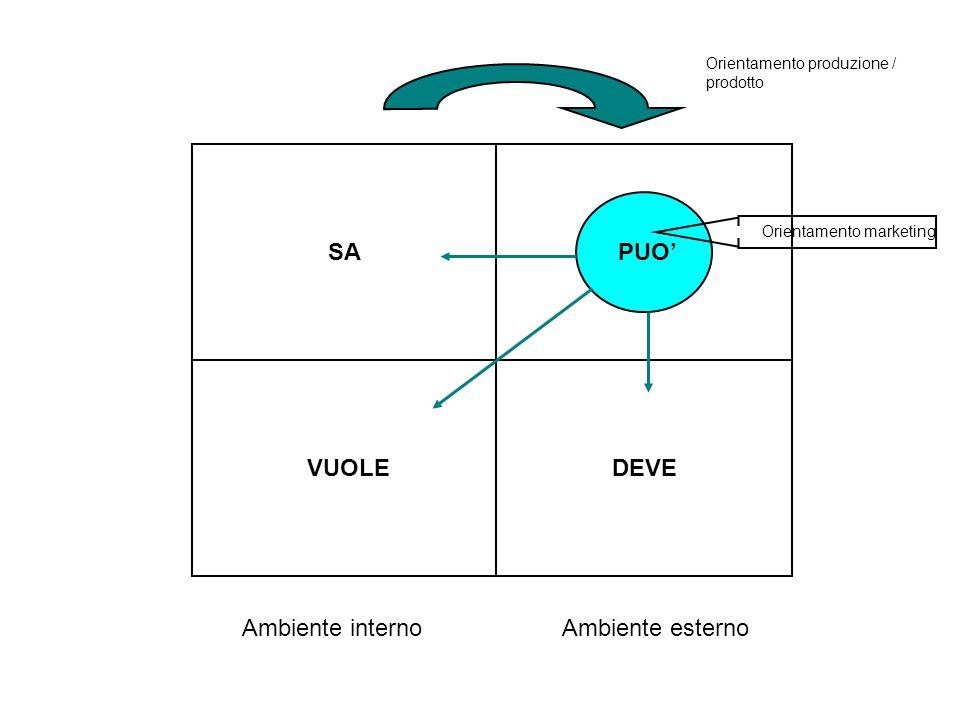 SAPUO' VUOLEDEVE Ambiente internoAmbiente esterno Orientamento produzione / prodotto Orientamento marketing