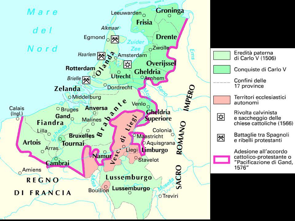 La rivolta dei Paesi Bassi Privi di unità politica, linguistica e religiosa i Paesi Bassi godono, sotto Carlo V di una notevole autonomia.
