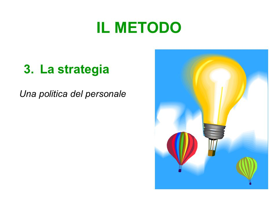 IL METODO 3.La strategia Una politica del personale