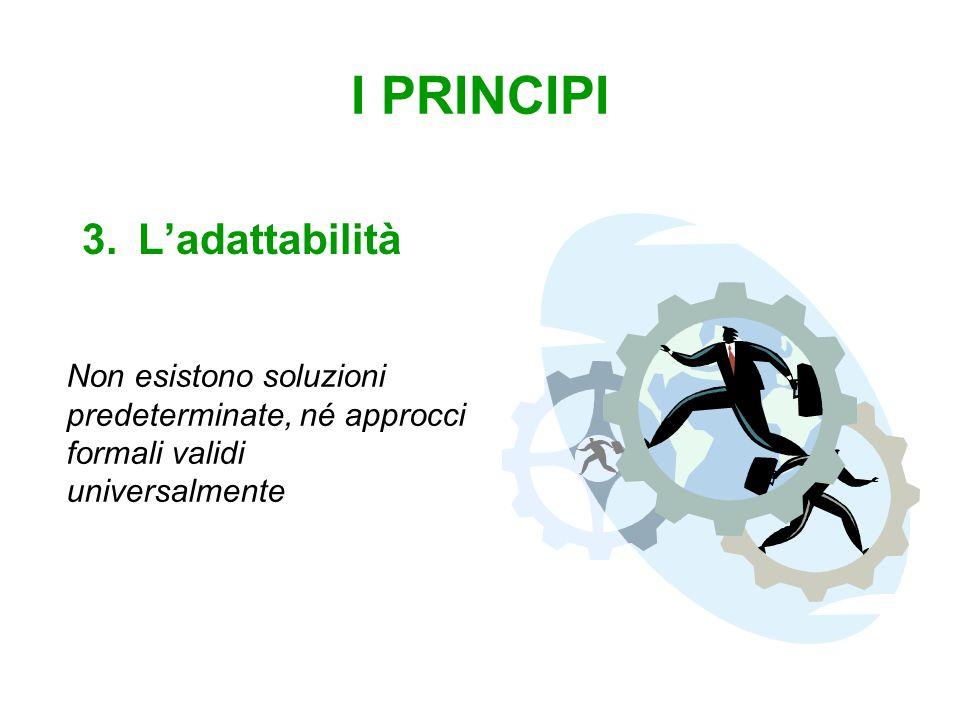 I PRINCIPI 3.L'adattabilità Non esistono soluzioni predeterminate, né approcci formali validi universalmente