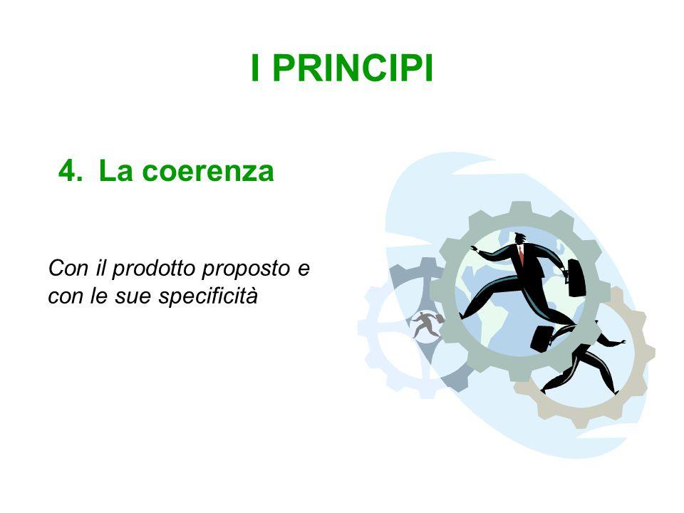 I PRINCIPI 4.La coerenza Con il prodotto proposto e con le sue specificità