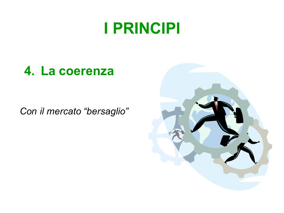 I PRINCIPI 4.La coerenza Con il mercato bersaglio