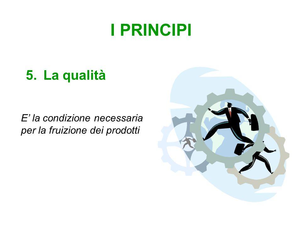 I PRINCIPI 5.La qualità E' la condizione necessaria per la fruizione dei prodotti