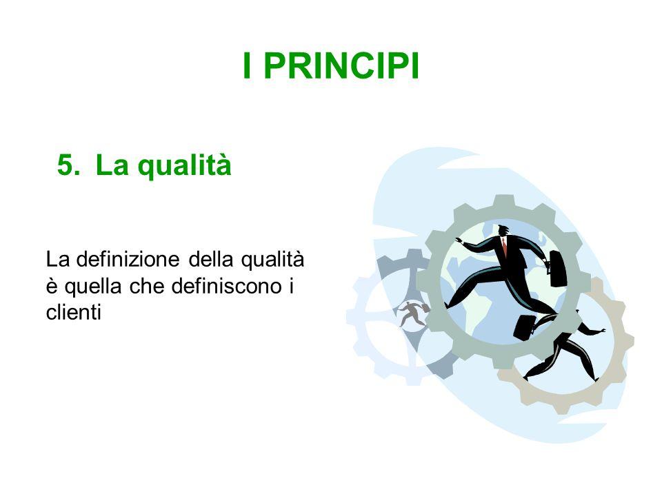 I PRINCIPI 5.La qualità La definizione della qualità è quella che definiscono i clienti