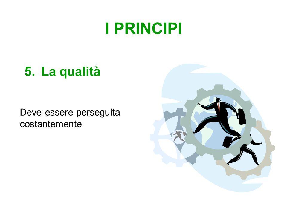 I PRINCIPI 5.La qualità Deve essere perseguita costantemente