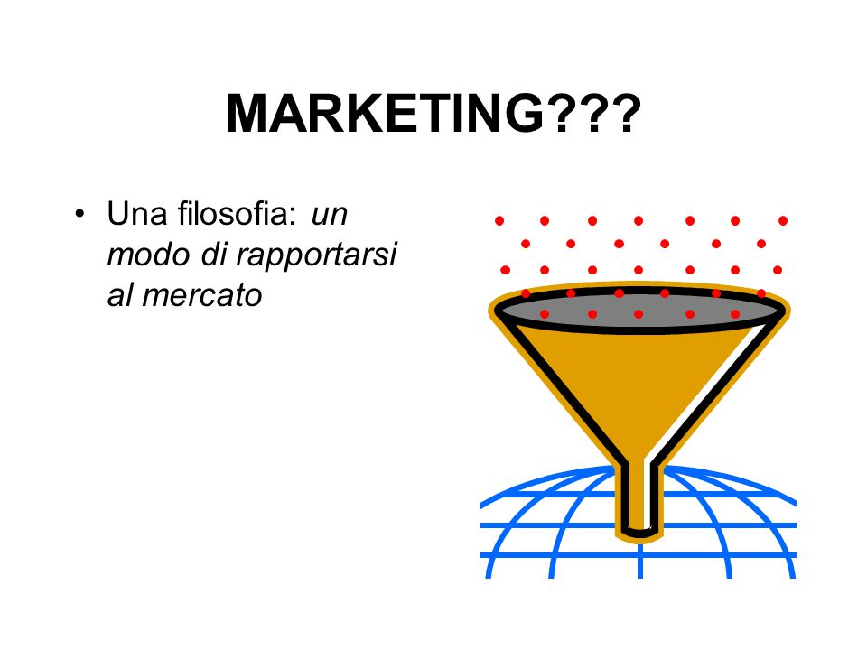 MARKETING??? Una filosofia: un modo di rapportarsi al mercato