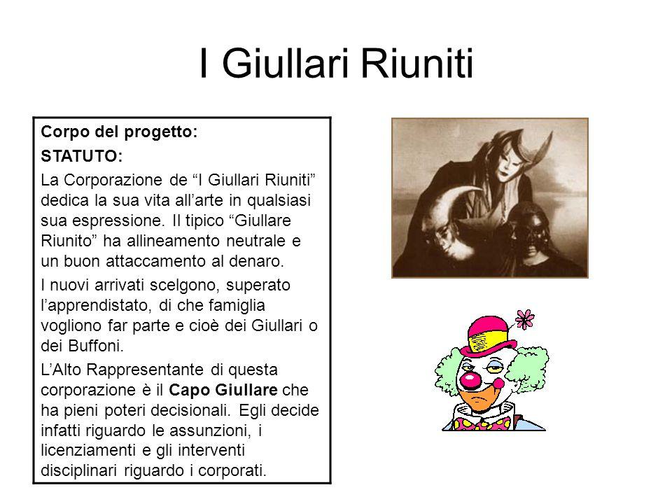 I Giullari Riuniti Corpo del progetto: STATUTO: La Corporazione de I Giullari Riuniti dedica la sua vita all'arte in qualsiasi sua espressione.