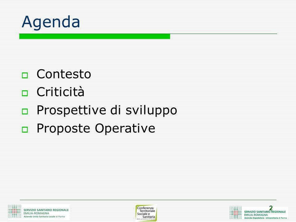 2 Agenda  Contesto  Criticità  Prospettive di sviluppo  Proposte Operative