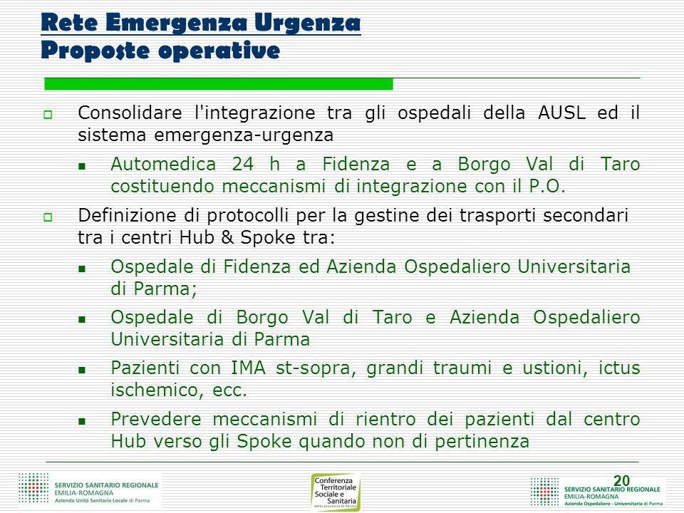 20 Rete Emergenza Urgenza Proposte operative  Consolidare l integrazione tra gli ospedali della AUSL ed il sistema emergenza-urgenza Automedica 24 h a Fidenza e a Borgo Val di Taro costituendo meccanismi di integrazione con il P.O.