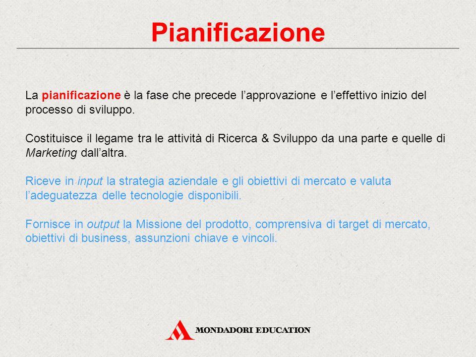 Pianificazione La pianificazione è la fase che precede l'approvazione e l'effettivo inizio del processo di sviluppo. Costituisce il legame tra le atti