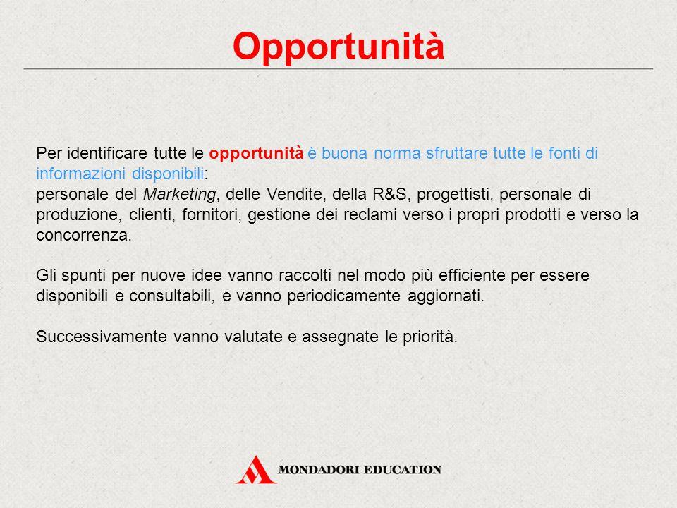 Opportunità Per identificare tutte le opportunità è buona norma sfruttare tutte le fonti di informazioni disponibili: personale del Marketing, delle V