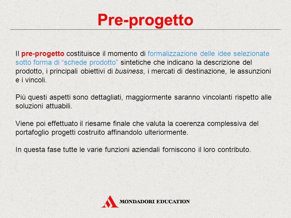 """Pre-progetto Il pre-progetto costituisce il momento di formalizzazione delle idee selezionate sotto forma di """"schede prodotto"""" sintetiche che indicano"""