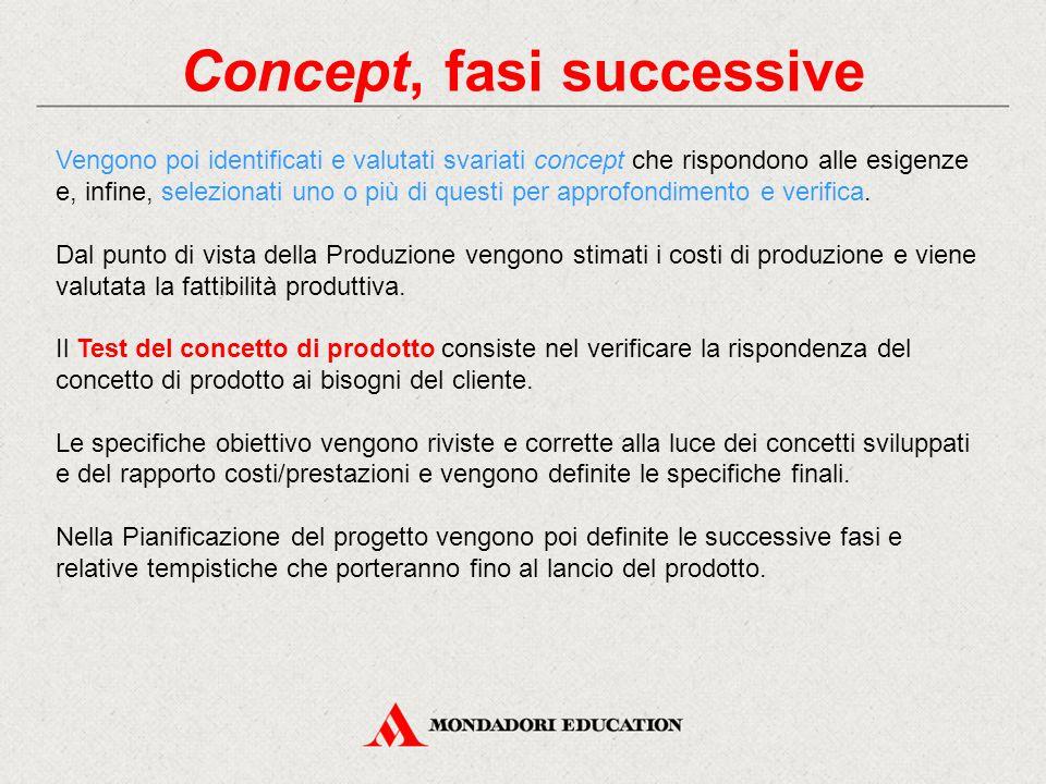 Concept, fasi successive Vengono poi identificati e valutati svariati concept che rispondono alle esigenze e, infine, selezionati uno o più di questi