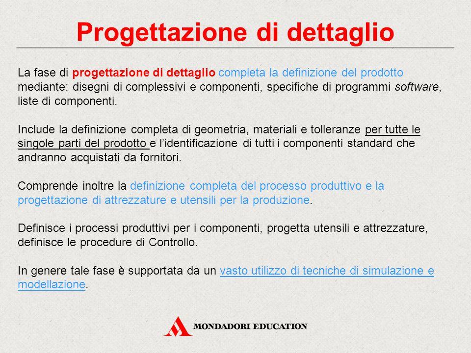 Progettazione di dettaglio La fase di progettazione di dettaglio completa la definizione del prodotto mediante: disegni di complessivi e componenti, s