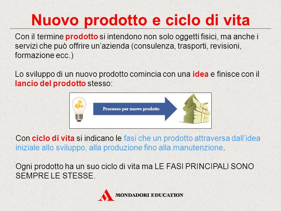 Nuovo prodotto e ciclo di vita Con il termine prodotto si intendono non solo oggetti fisici, ma anche i servizi che può offrire un'azienda (consulenza